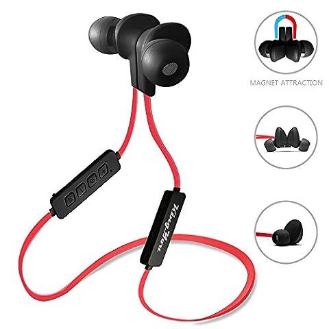 Kingyou Bluetooth Kopfhörer 4.1 Sport Kopfhörer In Ear Ohrhörer Stereo mit Mikrofon magnetische Headset für Handys Apple iPhone Samsung Galaxy Laptops Tablets und Android Smartphones (Rote+Schwarz)