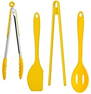 Funky Cool Yellow 4 Piece Silicone Kitchen Utensils