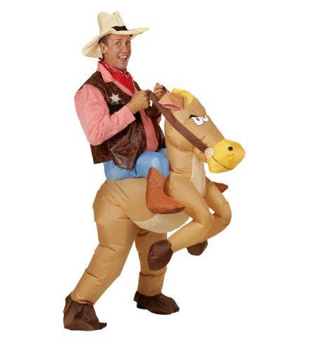 Aufblasbares Carry-me Huckepack Kostüm Wilder Westen Pferd Cowboy Fasching Karneval  (Cowboy Kostüm Aufblasbares)