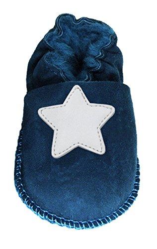 Plateau Tibet - ECHT Lammfell Baby Kinder Schuhe Babyschuhe - Stern weiß, Blau (Blue), Gr. 28-29