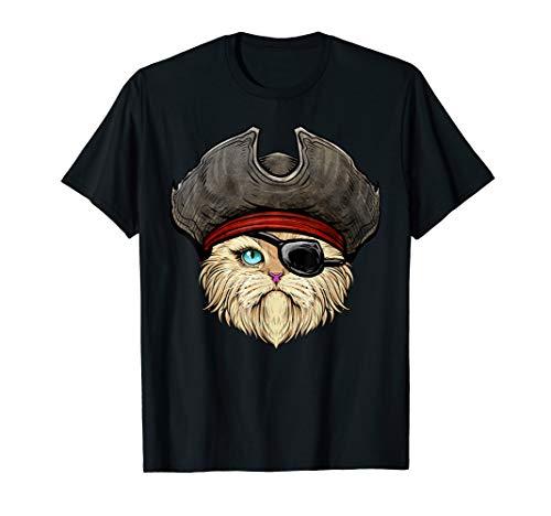 Kostüm Katze Piraten - Pawrate Katze Pirat Halloween Kostüm Augenklappe Hütte T-Shirt