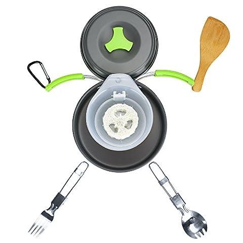 TTLIFE Camping Kochgeschirr Kit Rucksackreisen Wandern im Freien Kochen Ausrüstung Ultraleicht 13 Stück Kochset Kompakte & Durable Pot Topf Schüssel - Freifalter Spork, Nylon Tasche