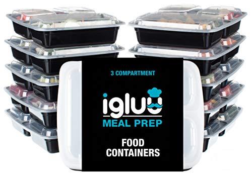 3 Compartiment repas Préparation Alimentaire Boîtes Bento Lunch Box Boîte de rangement avec couvercle, Passe au micro-ondes et au lave-vaisselle, réutilisable et empilable (Lot de 10)