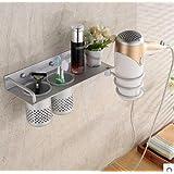 Beddingleer Montaje en pared Organizador soportes colgantes para Secador de pelo, secador de aluminio soporte