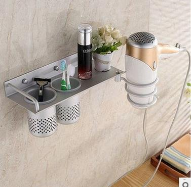Beddingleer Haartrocknerhalter Wandhalterung Haartrockner hanging Rack Organizer Aluminium Fön Halter mit 2 Tassen