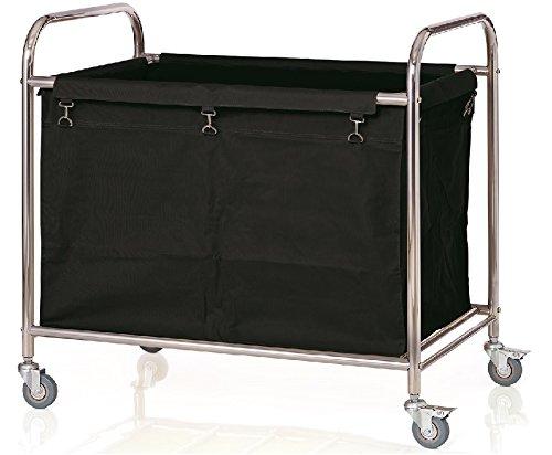 getgastro Wäschewagen aus Edelstahl mit schwarzem Wäschesack, XTRA PREISWERT/90 x 54 x 92 cm