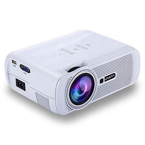 Intelligenter WiFi-Projektor, tragbarer kampierender Mikroprojektor des Haupt-LED-Miniprojektors des Büros 1080P HD im Freien, 37-130 Zoll Projektionsbereich,White 1080p Hd 37
