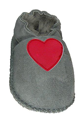 Plateau Tibet - ECHT LAMMFELL Baby Schuhe Krabbelschuhe - in 2 FARBEN: Beige und Grau - Herz rot Grau (Gray)