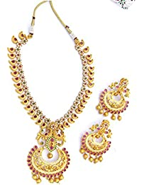 Margam Antique Short Necklace Set Ruby Stones-Temple Design (Necklace With Earring) - STMAJ1105