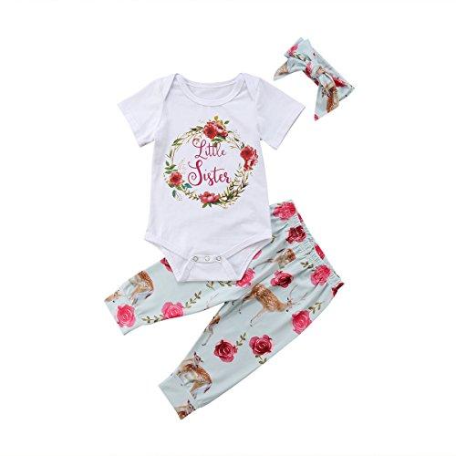 Baby Mädchen Kleine Schwester und Große Schwester Blume Gedruckt Strampler T Shirts Lange Legging Hosen 3tlg Kleidung Outfits (70/0-3Monate, Little Sister) - Big 0