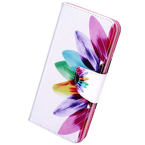Herbests Kompatibel mit Samsung Galaxy Note 10 Lederhülle Luxus Handyhülle Bunt Muster Ledertasche Bookstyle Klapphülle Wallet Flip Case Cover Schutzhülle Magnetverschluss,Sonnenblume