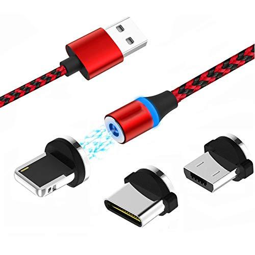 Magnetisches USB-Ladekabel, Multi 3-in-1 Kabel Ladegerät mit LED für Handy/Android, mehrere Ladeadapter, Micro-Light-Typ C - No Sync Data (Magnetische Handy-ladegerät)