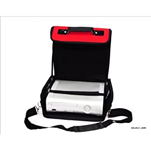 Xbox 360Deluxe Konsolen-Tragetasche, Rot/Schwarz Fall. Auch für Verwendung im Auto.