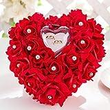 ZJchao Porte-alliances en forme de cœur Décoré de roses romantiques 15x 13cm Écrin pour bagues ou dragées de mariage, Red, Taille unique...