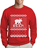 Green Turtle T-Shirts Bear + Deer = Beer - Witziger Weihnachtspulli Sweatshirt Medium Rot