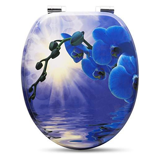 WOLTU # 2 Premium WC-Sitz Toilettensitz mit Absenkautomatik, Softclose Scharnier, Antibakteriell, Desgin Décor, MDF Holzkern, Orchidee Blau, 37,8 x 43,8cm (Wc-sitze Blau)