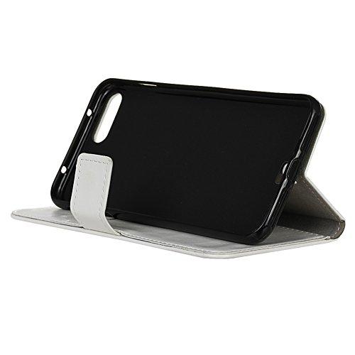 KM-WEN® Schutzhülle für Apple iPhone 7 (4,7 Zoll) Bookstyle Cowboy Jeans Tasche Muster PU Leder Wallet Case Flip Cover Hülle Tasche Schutzhülle mit Standfunktion Kartenfächer für Apple iPhone 7 (4,7 Z Crazy Horse Muster Weiß