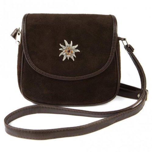 Kleine, braune Trachtentasche Dirndltasche Umhängetasche aus Wildleder mit Swarovski-Edelweiß.