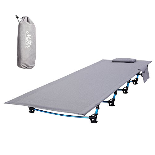 Sleeping Camping Cot Portable Folding Ultralight Tent Bed for Adults, Hiking Travel Outdoor Fishing Hunting Indoor Furniture, Free Storage Bag Included (Grey)