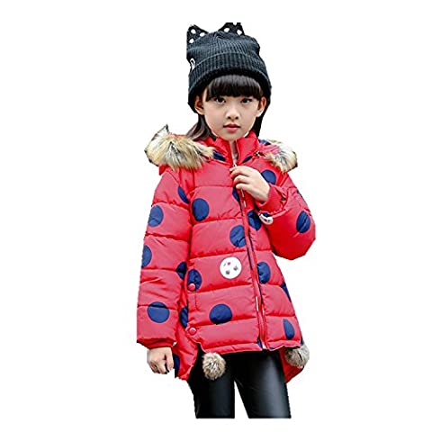 Kids Girls Parka Jacket Paffa Coat Outwear Warm Thick 3-12 Years (4T, Red)