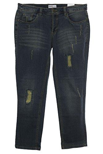 sheego Jeans Die Schmale Hose Pants Damen Stretch Used Look Plusgröße Kurzgröße, Farbe:jeansblau;Damengrößen:23