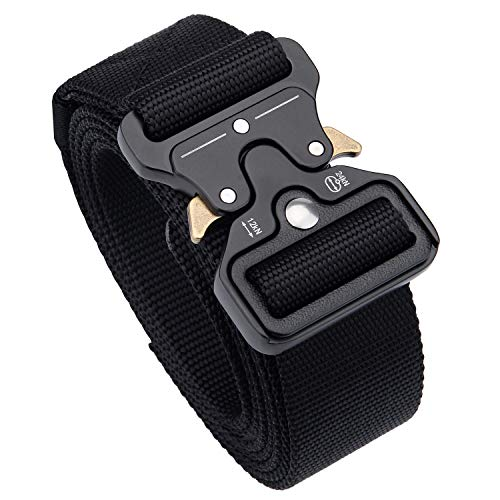 Petrunup Military Tactical Belt Nailon Heavy Duty Web Metal Strap Quick Release Buckle for Work