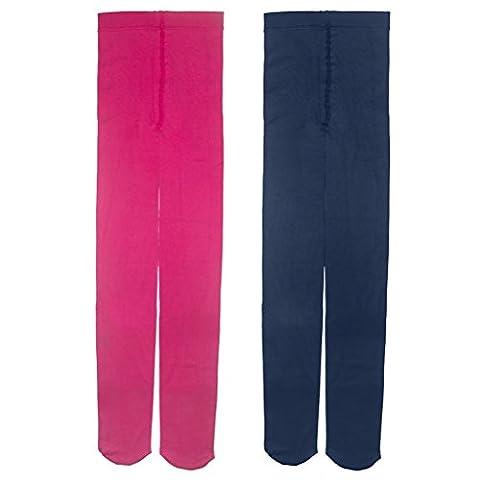 Lot de 2-3 Paires Collant Bébé Enfant Fille 1-14ans coloré pour automne ou hiver tient chaud opaque-Leggings chaussette long enfants (12-14ans, Rose Rouge et Bleu