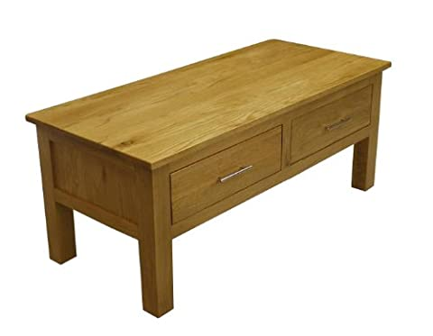 Solid Oakland Chunky Oak 2 Drawer Coffee Table / Storage