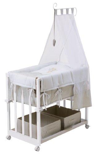 roba Beistellbett,  Stubenbett 4 in 1, Heartbreaker, Babybett, Wiege & Kinderbank, Holz weiß inkl. kompletter Ausstattung & Baby Bettwäsche (80x80cm)