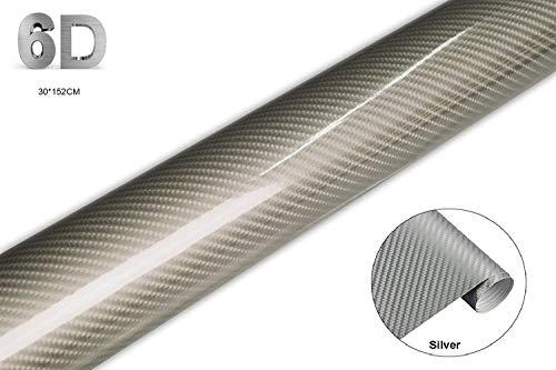 Coku rotoli 6d pellicola adesiva carbonio, rivestimento adesivo di vinile in fibra di carbonio per auto/car stickers/wrapping auto e moto/fai da te, impermeabile, anti bolle(argento 30 * 152cm)