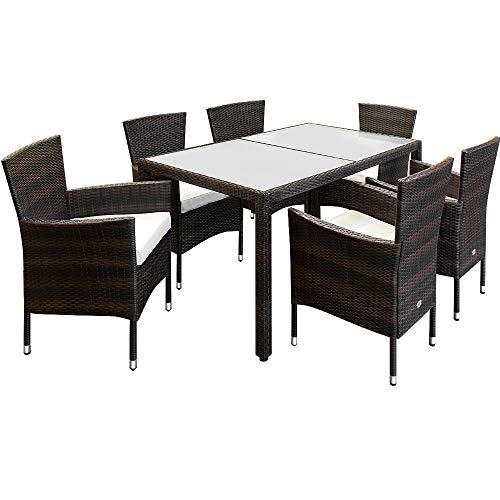 Deuba Poly Rattan Sitzgruppe Braun | 6 Stapelbare Stühle & 1 Tisch | 7cm Dicke Auflagen I Gartenmöbel Garten Lounge Set