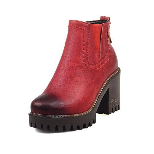 AllhqFashion Damen Rund Zehe Mittler Absatz Weiches Material Niedrig-Spitze Rein Stiefel, Rot, 44