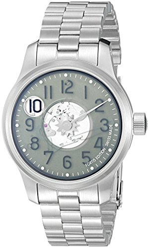 Fortis Men's 710.10.37 M F-43 Jumping Hour Analog Display Automatic Self Wind Silver Watch