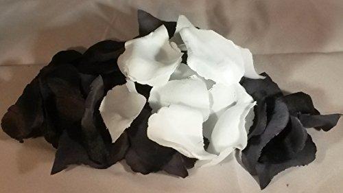 500 schwarz weiß weiss Rosen-Streu.Blüten-Blätter Hochzeit Geburtstag Party Tisch-Raum-Deko-vom Sachsen Versand (Schwarz Und Weiß Geburtstag Party)