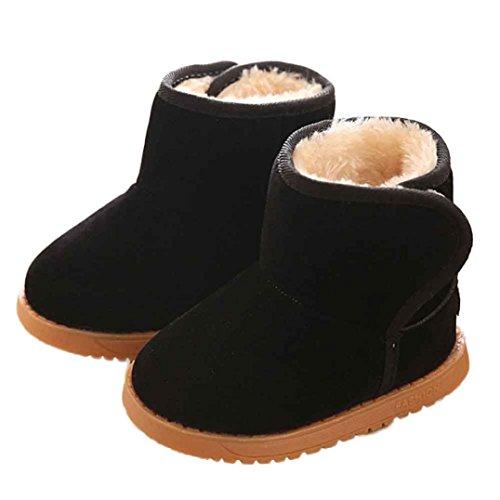 Mädchen Jungen Baby Kleinkinder Winter Snow Boots mingfa Baumwolle Warm Kids Rutschhemmende Erste Walking Schuhe Ankle Booties für 1–3Jahren Age:12-18M schwarz