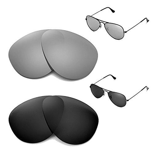 Preisvergleich Produktbild Walleva Polarisierte Titan + schwarz Ersatz-Objektive für Ray-Ban Aviator groß Metall 55 mm
