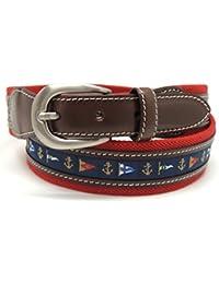 VAELLO - Cinturón de lona con motivos de banderas náuticas combinado con piel en 34mm, para hombre