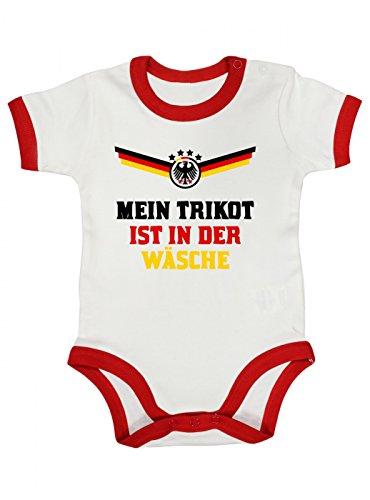 Deutschland Weltmeisterschaft 2018 Premium Ringer Babybody | Fan Trikot | Fußball Weltmeisterschaft | Nationalmannschaft | Baby | Kurzarmbody, Farbe:Weiß Rot (White Red BZ19);Größe:12-18 Monate