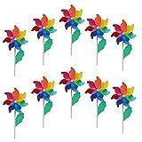 FLAMEER 10er Windmühle Windrad Windspiel Gartendeko Kinderspielzeug, Geschenke für Kinder Gerburtstag