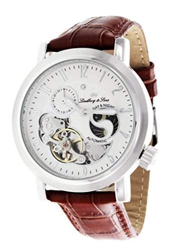 Lindberg & Sons - CAP13G202 - Day & Night - Montre Homme - Automatique Analogique - Cadran Blanc - Bracelet Cuir Marron