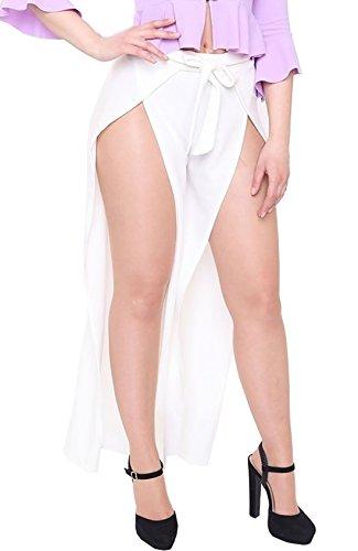 Die Bindung der Inselbewohner-Mode-Frauen-Taillen-Front-aufgeteilte Bein-Hosen-Damen-Partei-Abnutzungs-breite Bein-Sitz-Hosen-Wei� EU 38