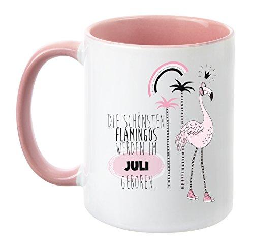 """TassenTicker® – """"Die schönsten Flamingos werden im Juli geboren"""" – Pink – Geburtstag-Tasse – hochwertige Qualität – Freundin – Schwester – Mama – Tochter – Nichte – Schatz – Geschenk – Palmen (Juli)"""
