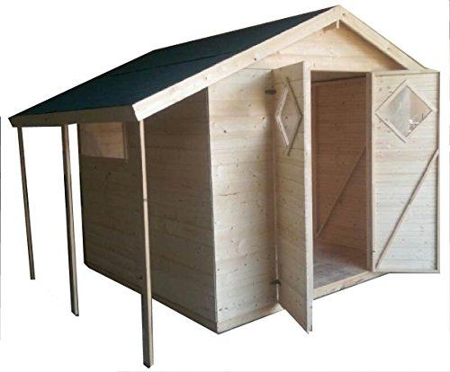 cadema Abri de jardin en bois 4 m x 3,3 m, (16 mm) avec fenêtre – Abri