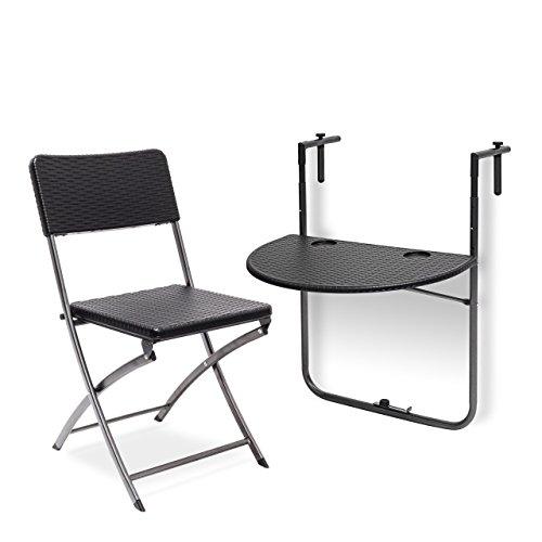 2 tlg. Sitzgruppe Balkon BASTIAN, Balkonhängetisch, Klappstuhl, klappbar, Tisch höhenverstellbar, Rattan-Optik, schwarz