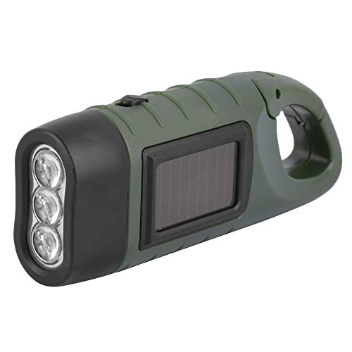 IanqAzwibvd-UK Handkurbeldynamo Solar Power Wiederaufladbare LED-Taschenlampe 3-LED Army Green
