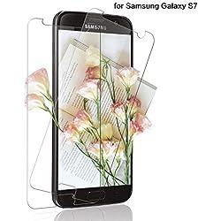 SNUNGPHIR 2 Pièces Verre Trempé pour Samsung Galaxy S7, Film de Protection d'Écran Samsung Galaxy S7, Protection Écran 9H Dureté,Ultra Résistant/Anti Rayures/sans Bulles-Transparent