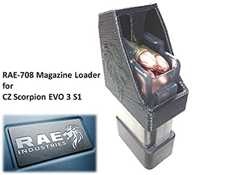 RAE-708 CZ Scorpion EVO Magazine Loader! Loads Single 9mm Rounds in 10, 20, 30 Round Magazines (Black) by RAE