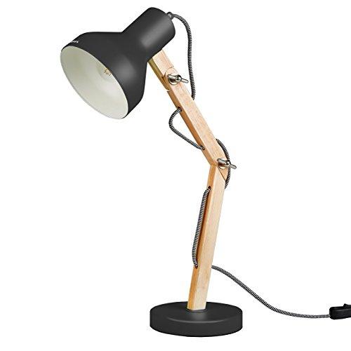 Tomons dl1004 lampada stile scandinavo da tavolino - design in legno braccio pieghevole - lampada da scrivania a led nero da lettura per studio e per ufficio, luce da comodino.