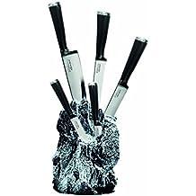 Warimex 8922 Bloc porte-couteaux Stoneline Excalibur avec 5 couteaux de cuisine en acier inoxydable (1 couteau de chef de 34 cm + 1 couteau à pain de 33,5 cm+ 1 couteau pour trancher de 34 cm + 1 couteau à préparer de 23,3 cm + 1 couteau à légumes de 20 cm + 1 pierre à aiguiser)