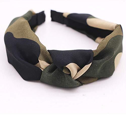 Imagen de gao accesorios para el cabello personalizados con nudo de camuflaje diadema central anudada de satén militar bohemio